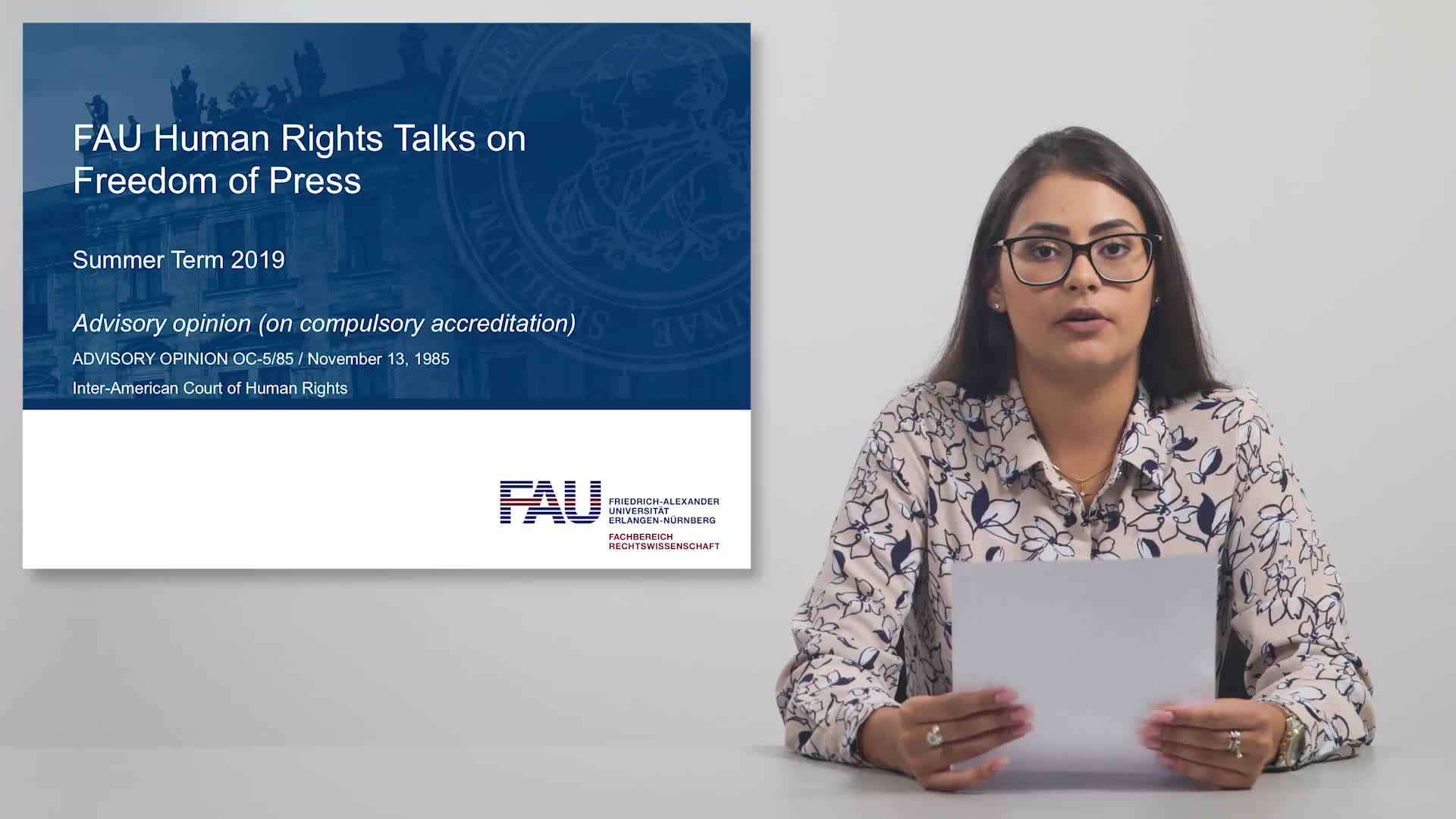 FAU Human Rights Talks – Summer Term 2019: Advisory opinion (on compulsory accreditation) preview image