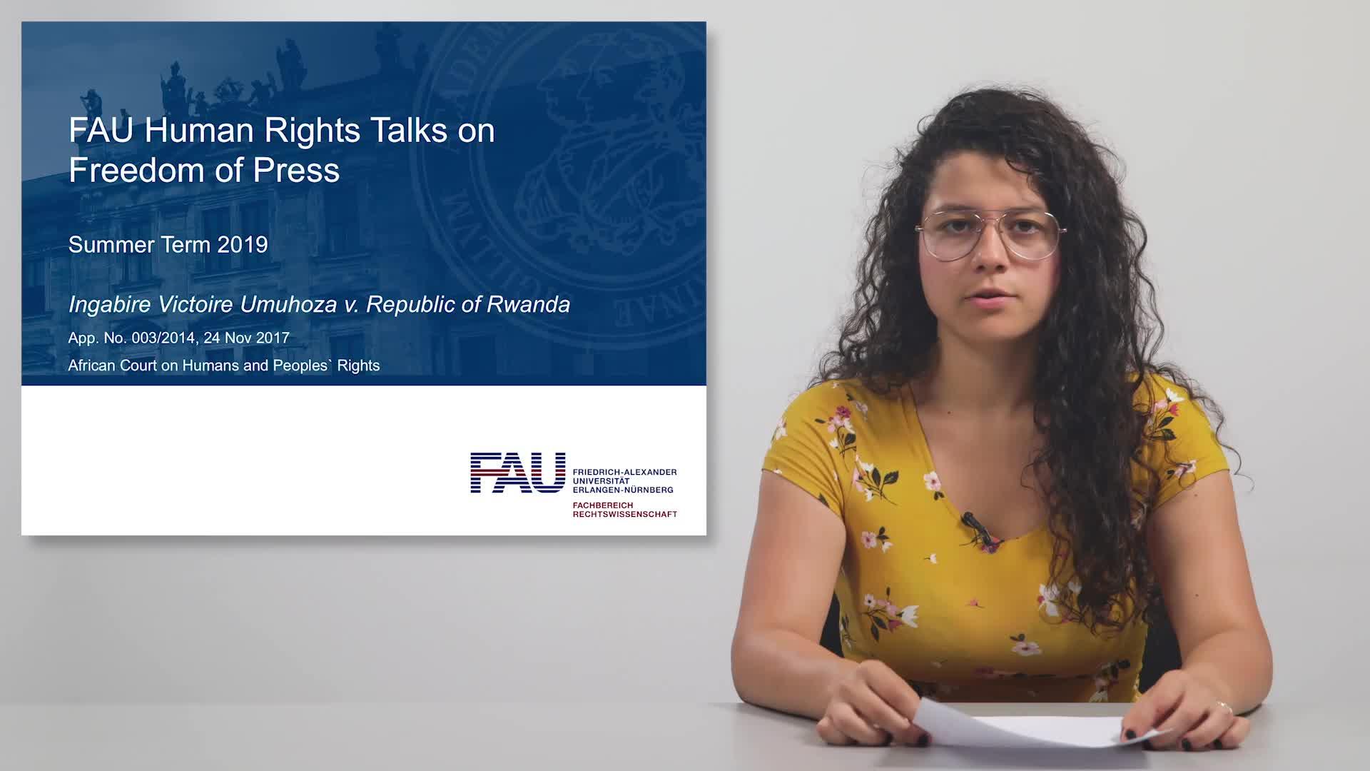 FAU Human Rights Talks – Summer Term 2019: Ingabire Victoire Umuhoza v. Republic of Rwanda preview image