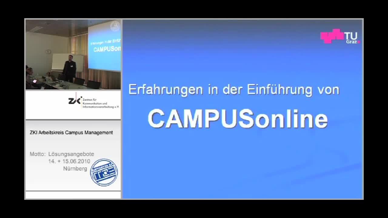 Erfahrungen der Implementierung von CAMPUSonline in Deutschland und über die neuen Entwicklungen preview image